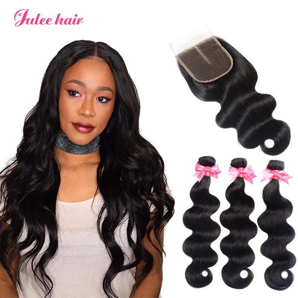 New Trend 3 Brazilian Body Wave Virgin Hair Bundles With Closure 4*4