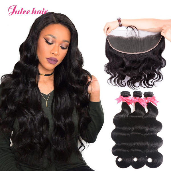 8A Grade 3 Indian Body Wave Hair Bundles With 13*4 Lace Frontal With Baby Hair