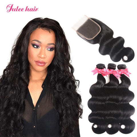 New Arrival Indian Body Wave Virgin Hair 3 Bundles With Closure 4*4