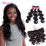 8A Grade 3 Malaysian Body Wave Hair Bundles With 13*4 Lace Frontal