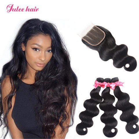 New Fashion Malaysian Body Wave Virgin Hair 3 Bundles With Closure 4*4