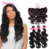 Virgin 8A 3 Bundles Peruvian Body Wave Hair With 13*4 Lace Frontal Closure