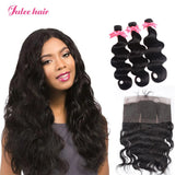 Top Rating 360 Lace Frontal Body Wave With Peruvian Virgin Human Hair 3 Bundles