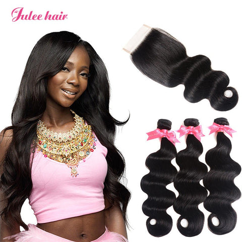 Raw Peruvian Body Wave Virgin Hair 3 Bundles With Closure 4*4