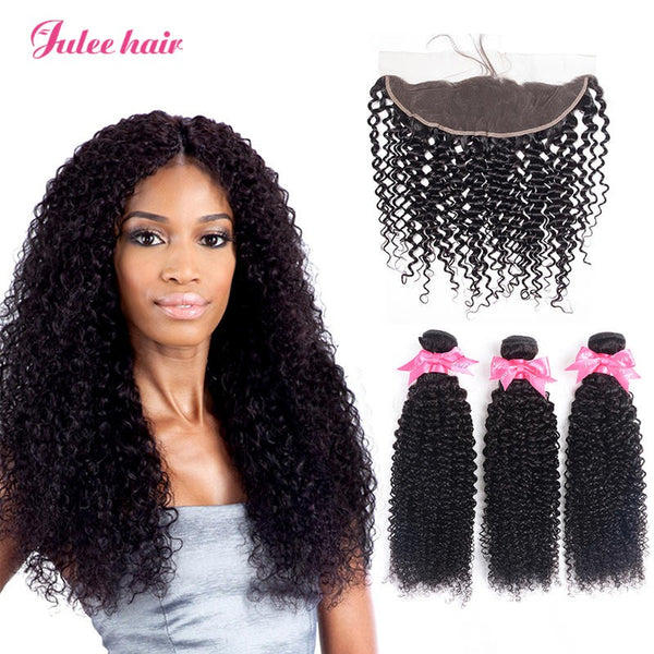 Virgin Indian Curly Hair 3 Bundles With Full Lace Frontals 13*4