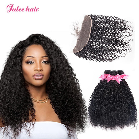 Real Malaysian Curly Hair 3 Bundles With Full Lace Frontals 13*4