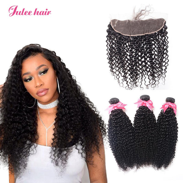 True Peruvian Curly Hair 3 Bundles With 13*4 Full Lace Frontal