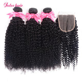Brazilian Curly Weave Virgin Hair Closures With Human Hair 3 Bundles