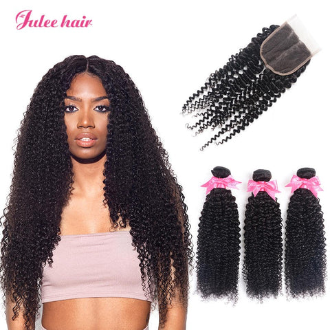 Sports Fashion Indian Curly Wave Virgin Hair Closures With Human Hair 3 Bundles