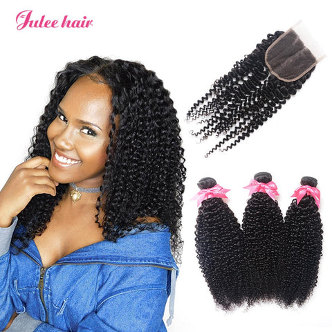 Featured Peruvian Curly Wave Virgin Hair Closures With Human Hair 3 Bundles