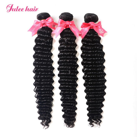 Julee Hair Big Discount Virgin Brazilian Deep Wave Hair 3 Bundles Deal 1b#