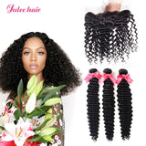 8A Grade Brazilian Deep Wave Hair Bundles With 13*4 Ear To Ear Lace Frontal