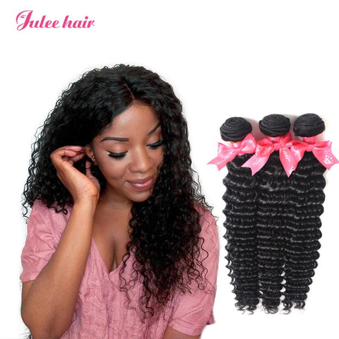 100% Virgin Indian Hair Deep Wave Human Hair 3 Bundles For Sale