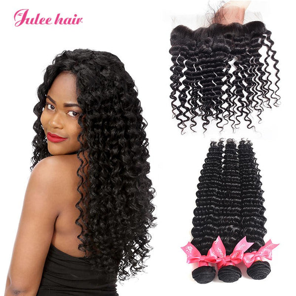 8A Unprocessed Virgin Indian Deep Wave Hair 3 Bundles With Full Lace Frontal 13*4