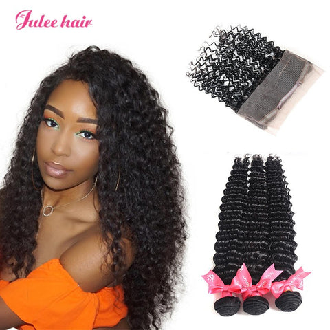 Deep Wave 3 Bundles Indian Human Hair With 360 Full Lace Frontal