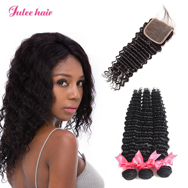 Famous Brand Indian Virgin Human Hair 3 Bundles Deep Wave With Closure 4*4