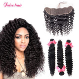 8A Grade Virgin Malaysian Deep Wave Hair 3 Bundles With Full Lace Frontal 13*4