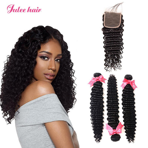 Unprocessed 3 Bundles Deep Wave Malaysian Virgin Human Hair With 4*4 Closure