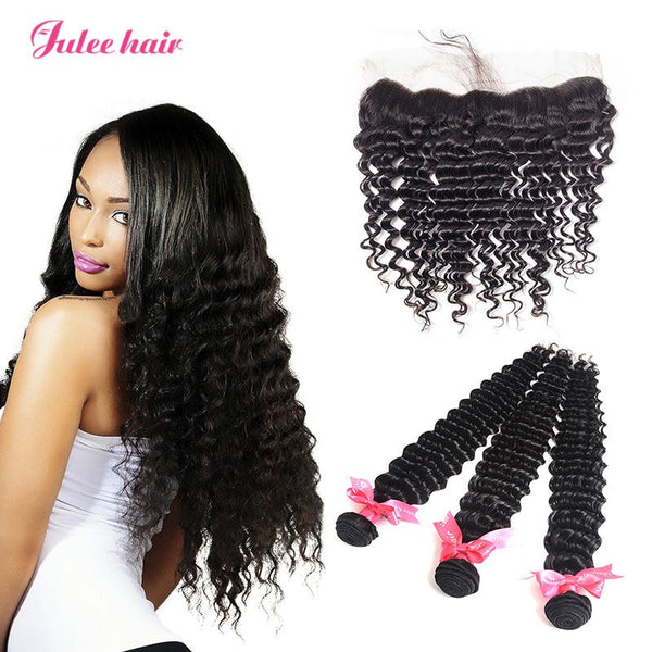 8A Unprocessed Virgin Peruvian Deep Wave Hair 3 Bundles With 13*4 Lace Frontal