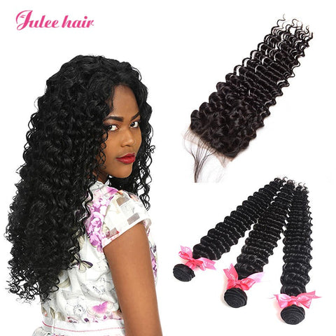 Popular Trend Peruvian 3 Bundles Deep Wave Virgin Human Hair With 4*4 Closure