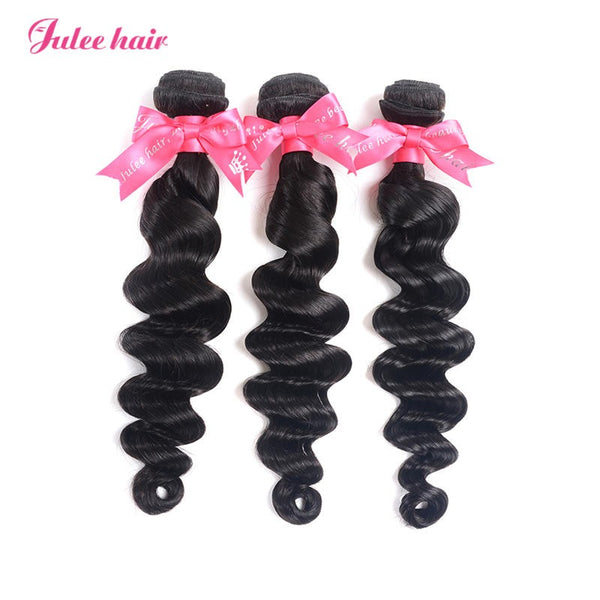 Julee Hair Cheap Virgin Brazilian Loose Deep Wave Hair 3 Bundles Deal 1b#