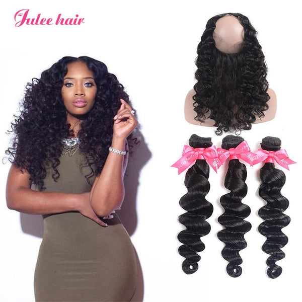 Julee Hair 3 Bundles Brazilian Loose Deep With 360 Lace Fronta