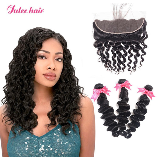 8A Grade 3 Indian Loose Deep Wave Hair Bundles With 13*4 Lace Frontal With Baby Hair