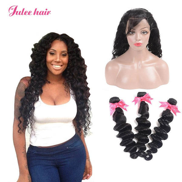 Julee Hair 3 Bundles Indian Loose Deep With 360 Lace Frontal