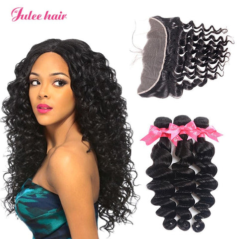 8A Grade 3 Malaysian Loose Deep Wave Hair Bundles With 13*4 Lace Frontal