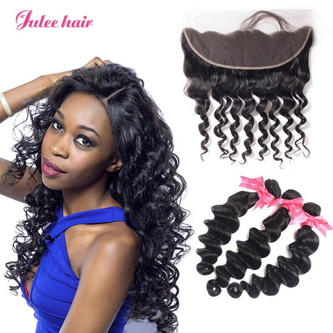 8A Grade 3 Peruvian Loose Deep Wave Hair Bundles With 13*4 Lace Frontal With Baby Hair