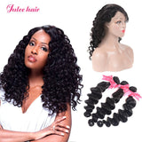 Julee Hair 3 Bundles Peruvian Loose Deep With 360 Lace Frontal