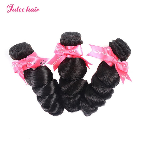 Julee Hair Hot Selling Loose Wave Virgin Brazilian Hair 3 Bundles Deal 1b#
