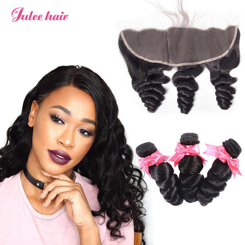 Virgin Brazilian Loose Wave Hair 3 Bundles With 13*4 Full Lace Frontal Closure