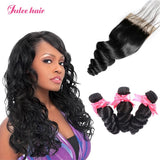 Top Popular Brazilian 3 Bundles Virgin Loose Wave Hair With 4*4 Lace Closure