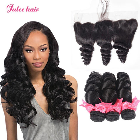 Indian Loose Wave Hair 3 Bundles With 13*4 Full Lace Frontal Closure