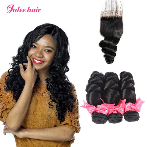 Indian Unprocessed 4*4 Loose Wave Hair Closures With Human Hair 3 Bundles