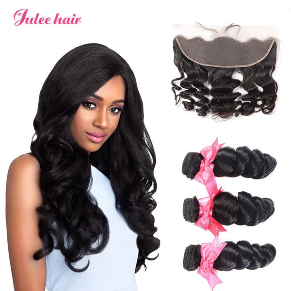 Unprocessed Malaysian Loose Wave Hair 3 Bundles With 13*4 Full Lace Frontals