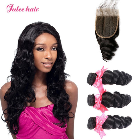 Malaysian Loose Wave Virgin Hair Closure 4*4 With Human Hair 3 Bundles