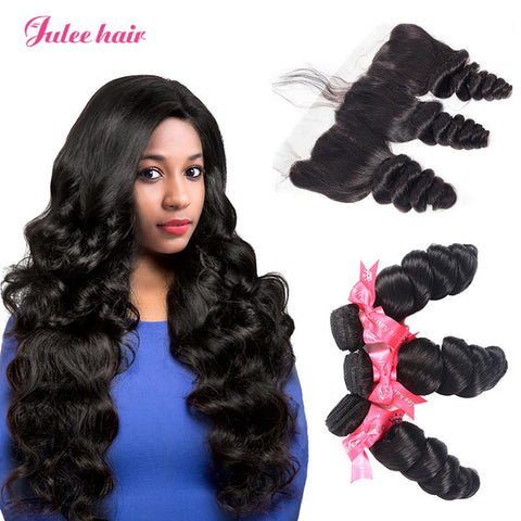 Unprocessed Peruvian Loose Wave Hair 3 Bundles With 13*4 Full Lace Frontal