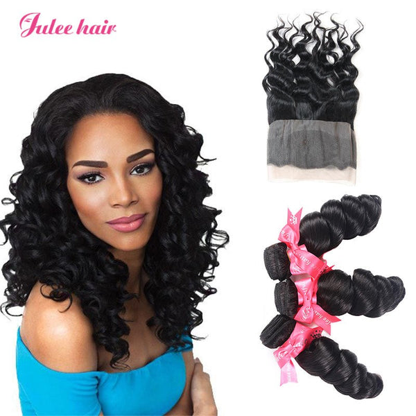 Best Rating 360 Lace Frontal With 3 Bundles Loose Wave Peruvian Virgin Human Hair