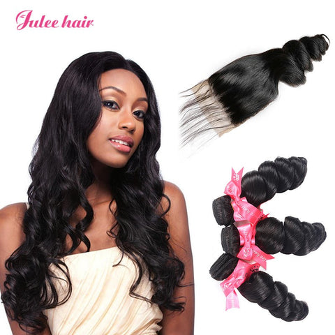 4*4 Peruvian Loose Wave Hair Closure With Human Hair 3 Bundles