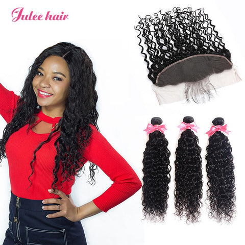 Brazilian Natural Wave Hair 3 Bundles Deal With Ear To Ear Lace Frontal