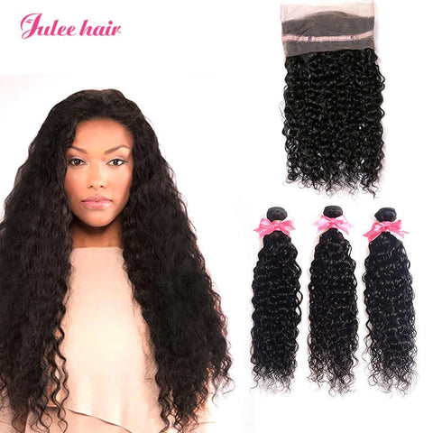 Julee Hair 3 Bundles Virgin Human Hair 3 Bundles Malaysian Hair With 360 Lace Frontal