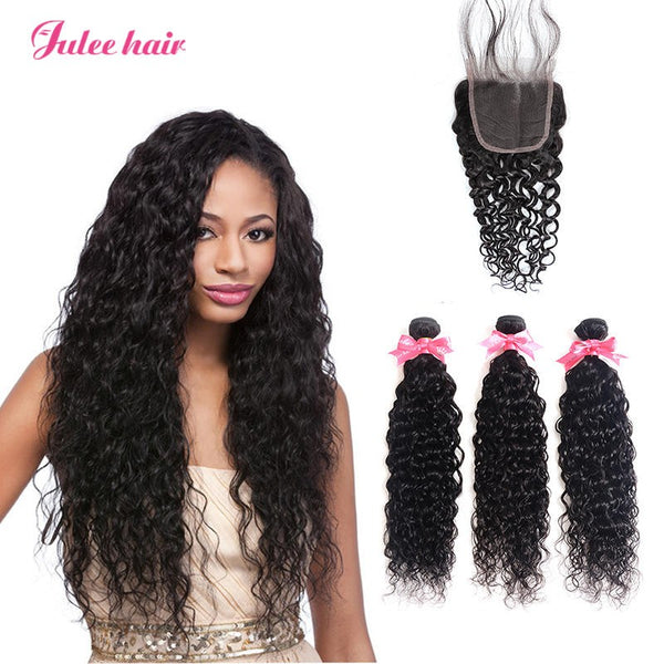 8A Quality Brazilian 3 Bundles Virgin Natural Wave Hair With 4*4 Lace Closure