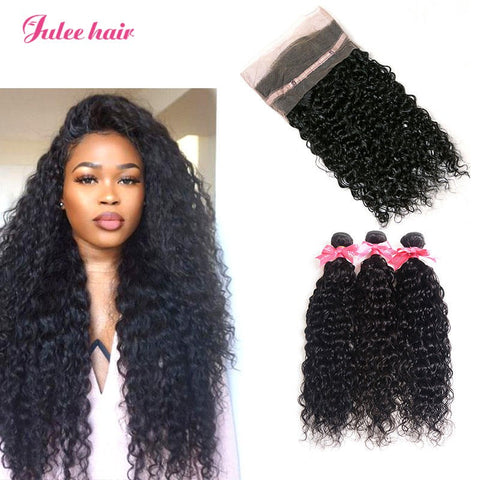 Top Selling Indian Natural Wave Human Hair 3 Bundles With 360 Lace Frontal