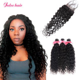 Raw Virgin Indian Natural Wave Closure Hair With 3 Bundles Of Human Hair Weave