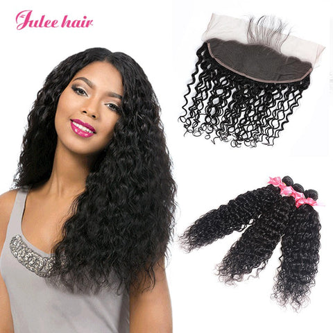 Virgin Malaysian Natural Wave Hair 3 Bundles With Full Lace Frontal Closure