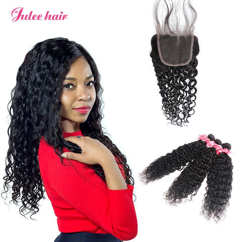 Unprocessed Malaysian Natural Wave Virgin Hair Closures With 3 Human Hair Bundles