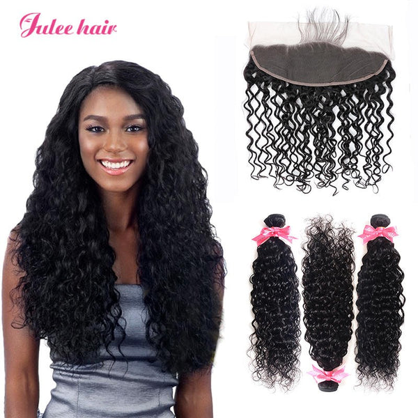 Cheap Virgin Remy Peruvian Natural Wave Hair 3 Bundles With Full Lace Frontal Closure