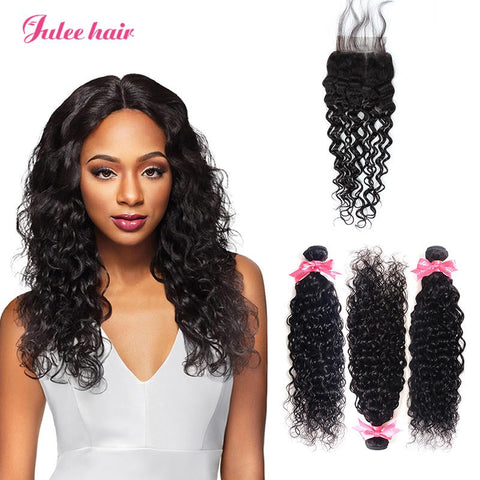 Peruvian Natural Wave Virgin Hair Closures With 3 Bundles Of Human Hair